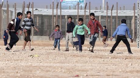 Syrian children play at the Za'atari refugee camp near the Jordanian capital, Amman.