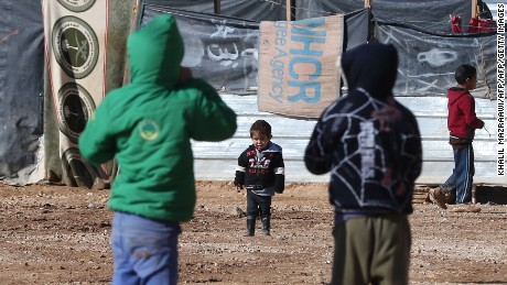 Syrian children play at the Za'atari refugee camp in Jordan.