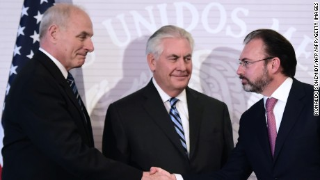 (L-R) US Homeland Security chief John Kelly, US Secretary of State Rex Tillerson and Mexican Foreign Minister Luis Videgaray greet each other during a press conference at the Foreign Ministry building in Mexico City on February 23, 2017. Mexico vowed not to let the United States impose migration reforms on it as its leaders prepared Thursday to host US officials Tillerson and Kelly who are cracking down on illegal immigrants. / AFP / Ronaldo SCHEMIDT        (Photo credit should read RONALDO SCHEMIDT/AFP/Getty Images)