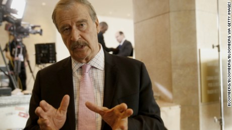 Vicente Fox, former President of Mexico, speaks after a Bloomberg Television interview at the annual Milken Institute Global Conference in Beverly Hills, California, U.S., on Tuesday, May 3, 2016. The conference gathers attendees to explore solutions to today's most pressing challenges in financial markets, industry sectors, health, government and education. Photographer: Patrick T. Fallon/Bloomberg via Getty Images