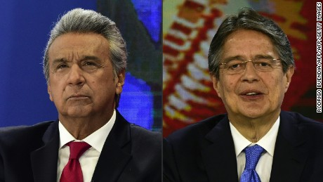 "(COMBO) This combination of pictures created on February 22, 2017 shows Ecuadorean presidential candidate for the governing ""Alianza Pais"" (Country Alliance) Lenin Moreno and the presidential candidate for the Creating Opportunities party, Guillermo Lasso, participating in a televised debate in Quito on February 5, 2017.   Ecuador's electoral authorities confirmed on February 23, 2017 that Moreno and Lasso will face off in the April 2 runoff election. / AFP / RODRIGO BUENDIA        (Photo credit should read RODRIGO BUENDIA/AFP/Getty Images)"