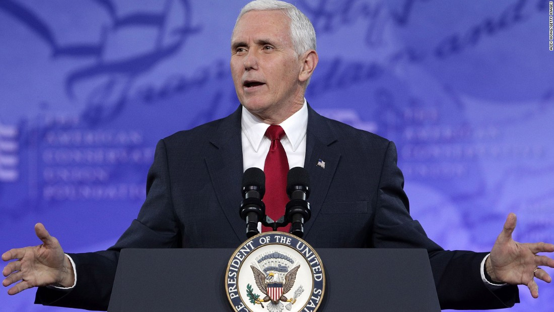 Pence speaks during the Conservative Political Action Conference on February 23, 2017, in National Harbor, Maryland.