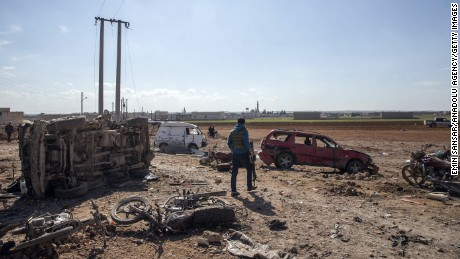 A car bomb leaves damage in Sousian village, north of al-Bab, Syria.