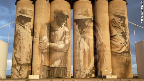 Van Helten's first silo painting in Brim, Victoria attracted global attention in 2015