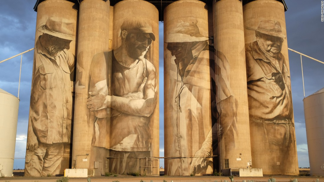 Van Helten's first silo painting in Brim, a small town in Victoria, Australia, attracted global attention back in 2015.