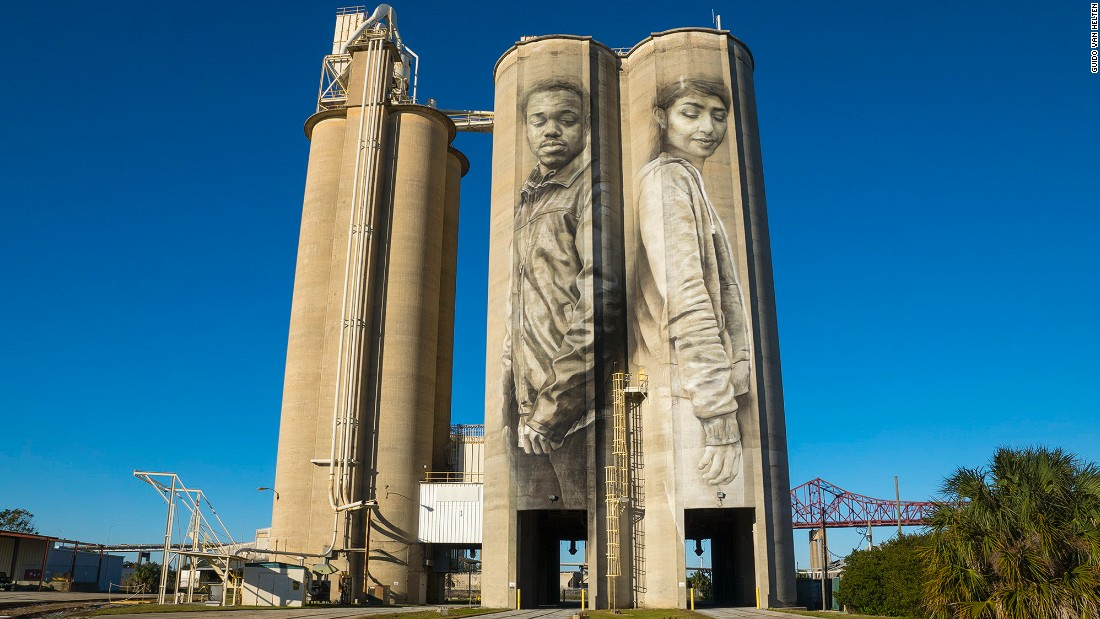 "This silo mural painted in Jacksonville, Florida, US is entitled ""Unity"" and depicts a deaf activist called Connell and Sara, a Palestinian-American."