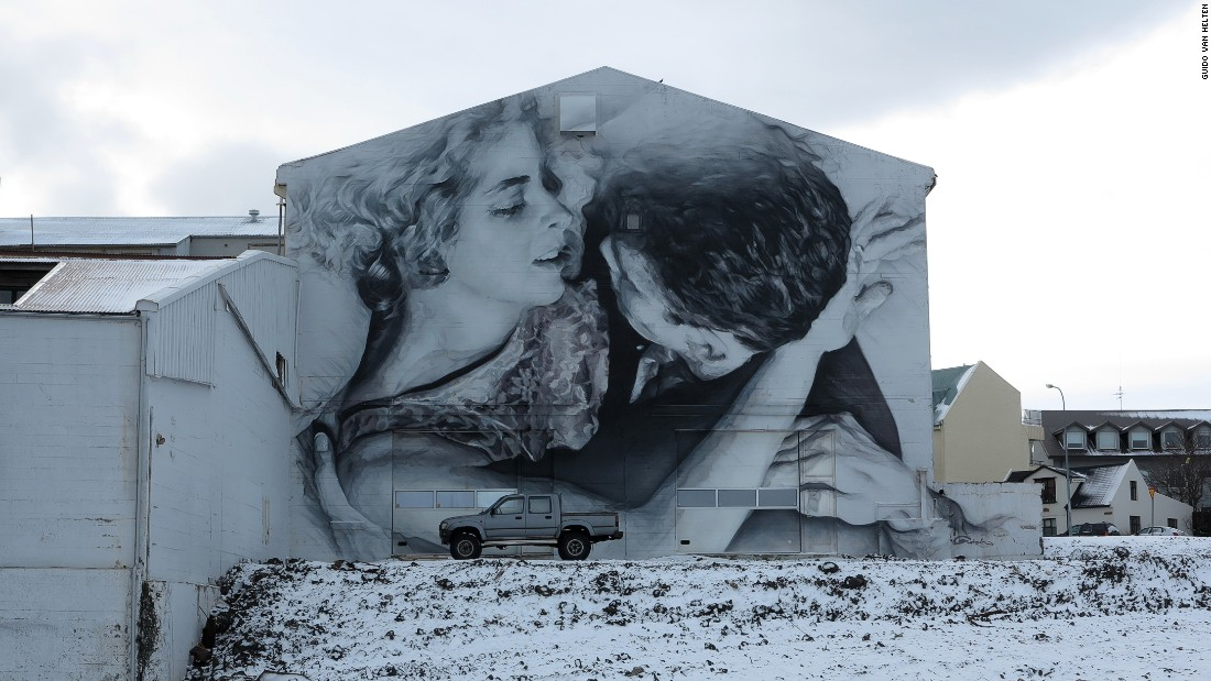 "A depiction from a scene in the play ""No Exit,"" by Jean-Paul Satre, on the side of a building in Reykjavik, Iceland."