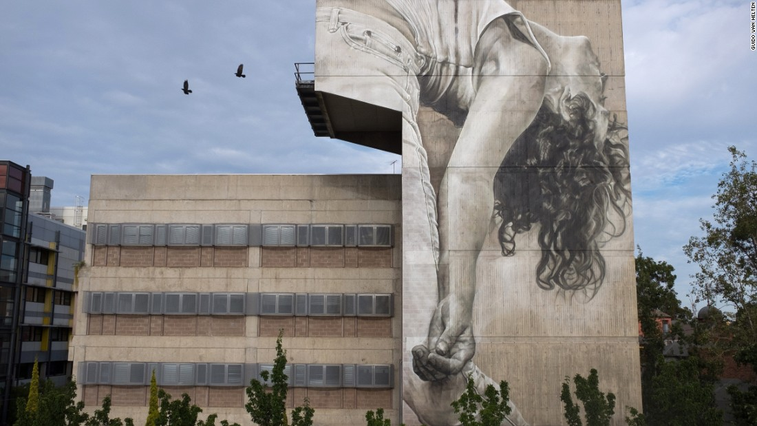 Contemporary dancer Anna Seymour depicted on an exterior wall of Melbourne Polytechnic's Prahran Campus in Victoria, Australia.