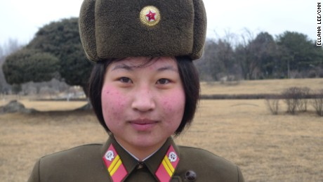 A North Korean female soldier stands guard. While military service for women has long been voluntary, it was reportedly made mandatory in a bid to bolster the armed forces.