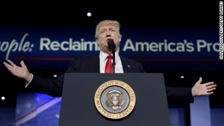 U.S. President Donald Trump delivers remarks to the Conservative Political Action Conference on February 24, 2017 in National Harbor, Maryland. Hosted by the American Conservative Union, CPAC is an annual gathering of right wing politicians, commentators and their supporters.