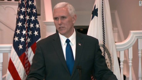 Mike Pence delivers some remarks before hosting a luncheon at the VEEP residence at the United States Naval Observatory.