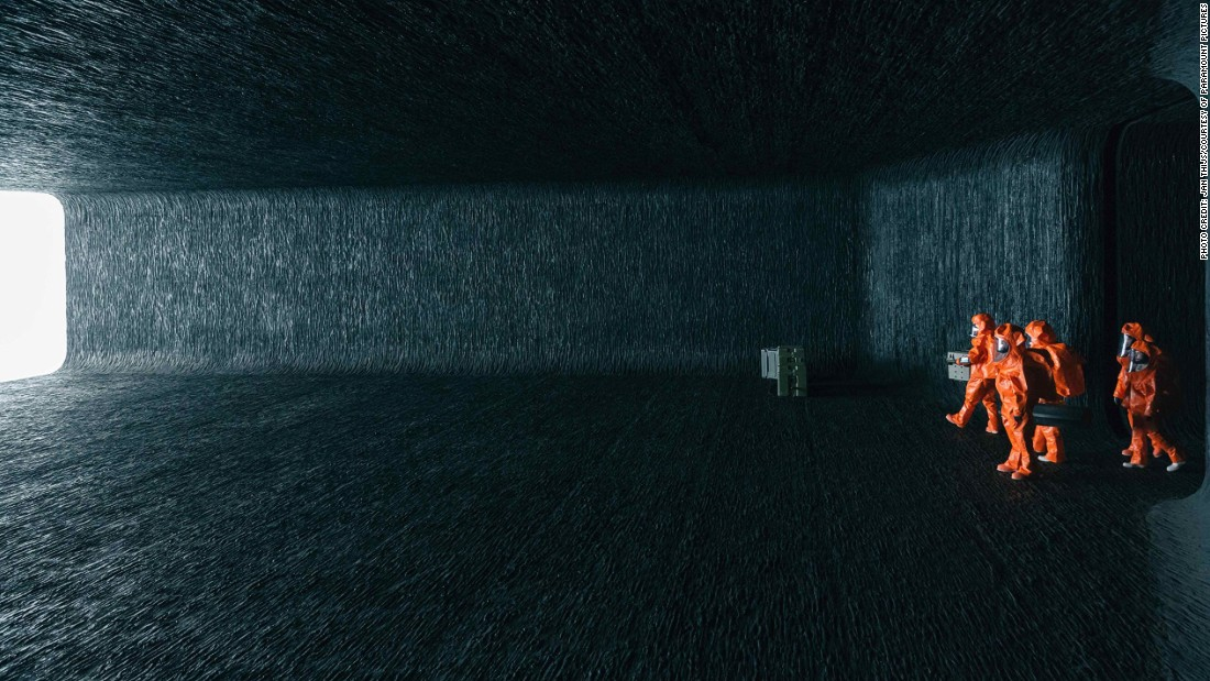 A purpose-built set rather than an existing location, the alien spacecraft in which Amy Adams' linguist establishes first contact deserves a mention here for its stark Brutalist style. <br /><br />According to production designer Patrice Vermette, the walls of the ominous central chamber were intended to resemble sediment rock, lending the space both a natural and otherworldly texture.
