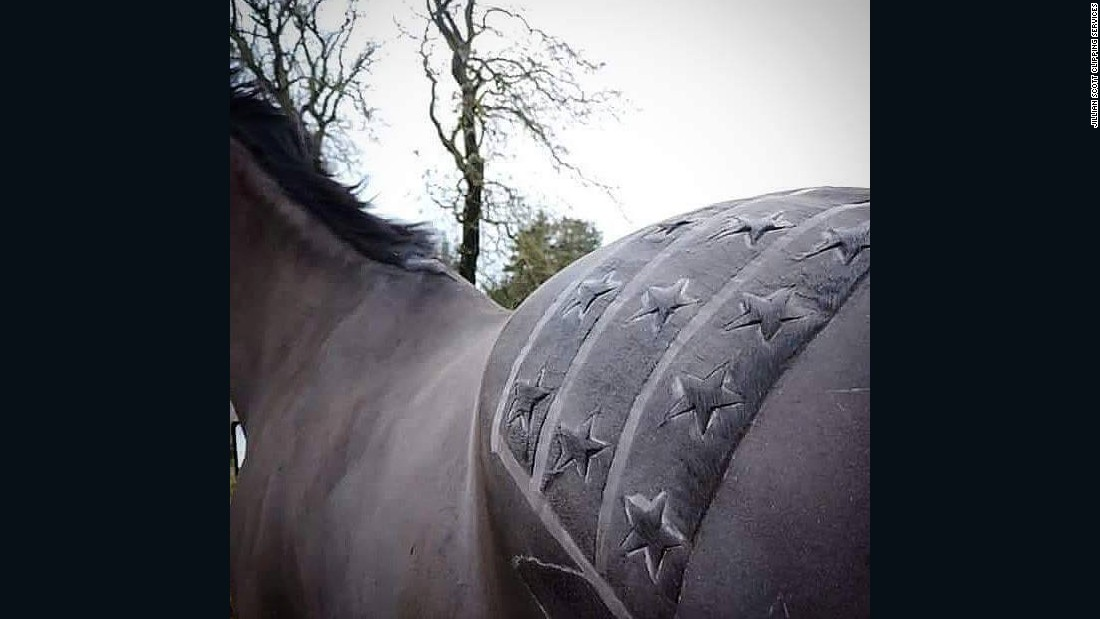 """She says some take a disliking to the vibrating noise of the clippers, adding she would never """"unnecessarily stress out"""" a horse. """"With these horses we would not attempt to do any sort of fancy design because those clips can take longer."""""""