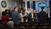 Reporters leave after failing to get access to an off camera briefing with White House Press Secretary Sean Spicer and a small group of reporters instead of the normal on camera briefing at the White House on February 24, 2017 in Washington, DC.