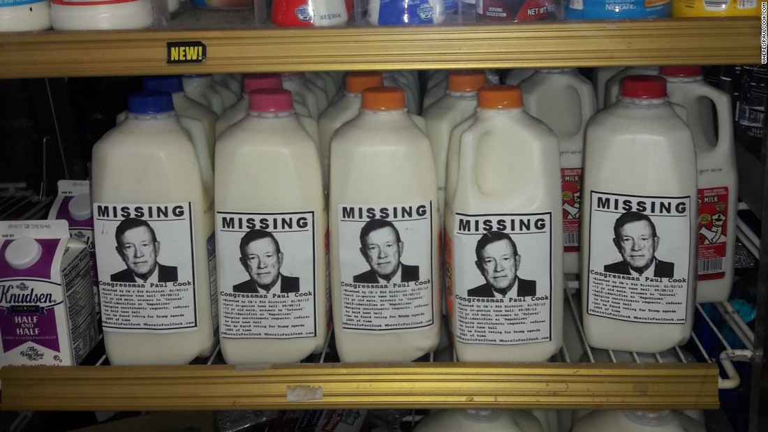 "Photos of US Rep. Paul Cook are seen on milk cartons in his California district, according to the Twitter account @WhereIsPaulCook, which <a href=""https://twitter.com/WhereIsPaulCook/status/833824094881656832"" target=""_blank"">posted this photo</a> on Monday, February 20. Some GOP politicians are staying clear of town hall events in their home districts, and frustrated constituents <a href=""http://www.cnn.com/2017/02/22/politics/congress-missing-town-halls-trnd/index.html"" target=""_blank"">have found creative ways to voice their displeasure.</a>"