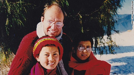 Ani Choying Drolma (left) with Andreas Kretchmeyer in Nepal.