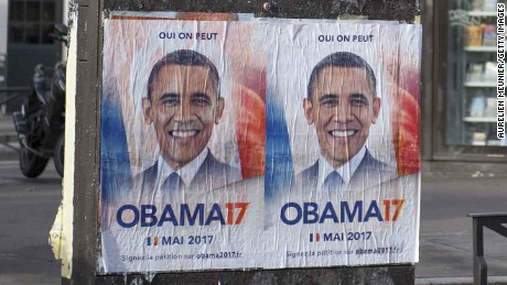 PARIS, FRANCE - FEBRUARY 23:  Obama 17 posters are displayed across Paris on February 23, 2017 in Paris, France.  Obama17 was created by a group who want to reach over 1 million signatures by March 15, 2017 in order to propose Barack Obama to present his candidacy to become France's 25th President and prove that Democracy still is possible by electing a foreign French President. (Photo by Aurelien Meunier/Getty Images)