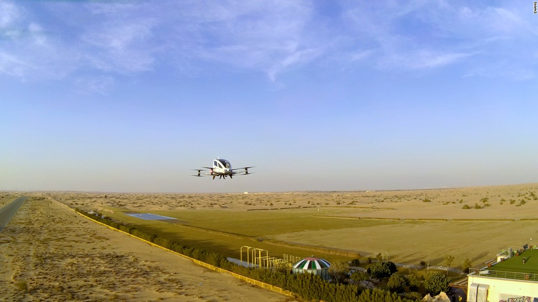 Powered by eight propellers, the drone will cruise at around 60 kilometers per hour.<br />