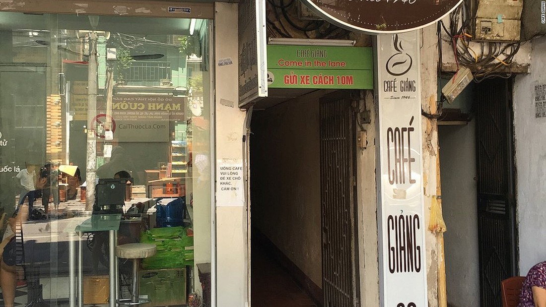 <strong>Hard to find: </strong>Blink and you'll miss Cafe Giang's narrow, dark doorway and sign. To enter, you need to walk through a hallway, which opens out to a two-story cafe.