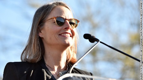 Actress Jodie Foster speaks during the United Voices Rally at UTA Plaza on February 24, 2017 in Beverly Hills, California.