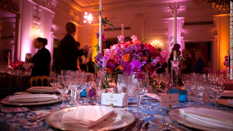 White House State Dining Room 2011 A Vivid Bouquet Of Orange And Fuchsia Flowers With