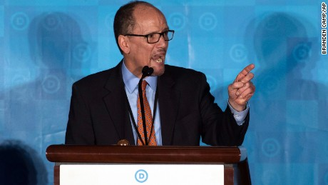 Former Labor Secretary Tom Perez, who is a candidate to run the Democratic National Committee, speaks during the general session of the DNC winter meeting in Atlanta, Saturday, February 25, 2017.
