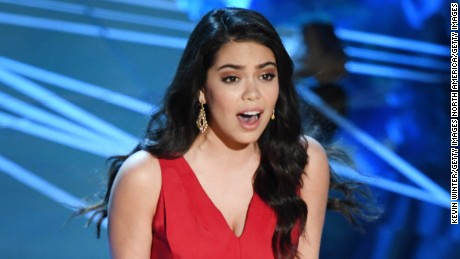 Actor/singer Auli'i Cravalho performs onstage during the 89th Annual Academy Awards.