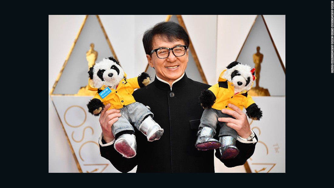 Jackie Chan brings two stuffed pandas as his Oscar dates