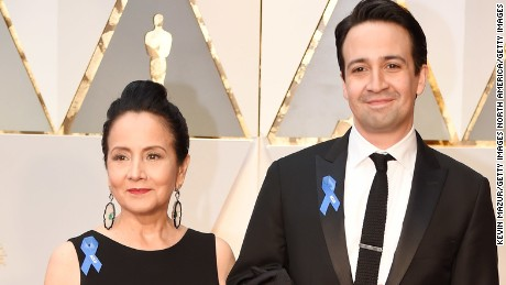 HOLLYWOOD, CA - FEBRUARY 26:  Actor Lin-Manuel Miranda (R) and Luz Towns-Miranda attend the 89th Annual Academy Awards at Hollywood & Highland Center on February 26, 2017 in Hollywood, California.  (Photo by Kevin Mazur/Getty Images)