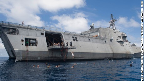 170223-N-WV703-062 SOUTH CHINA SEA (Feb. 23, 2017) Sailors assigned to the littoral combat ship USS Coronado (LCS 4) swim in the South China Sea. Coronado is a fast and agile warship tailor-made to patrol the region's littorals and work hull-to-hull with partner navies, providing the U.S. 7th Fleet with the flexible capabilities it needs now and in the future. (U.S. Navy photo by Mass Communication Specialist 2nd Class Amy M. Ressler/Released)