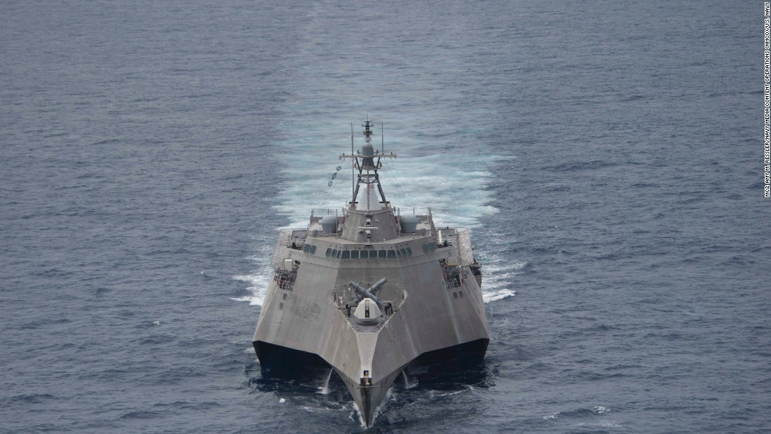 The littoral combat ship USS Coronado  transits the South China Sea on February 1.