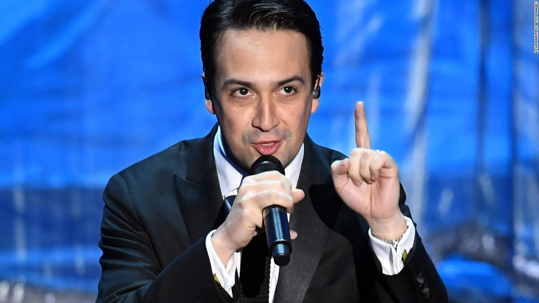 "Lin-Manuel Miranda performs before 16-year-old Auli'i Cravalho took the stage for ""How Far I'll Go."" Miranda wrote the song for the animated film ""Moana."""