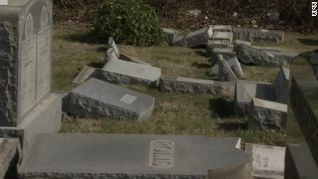 Knocked-over tombstones in Philadelphia.