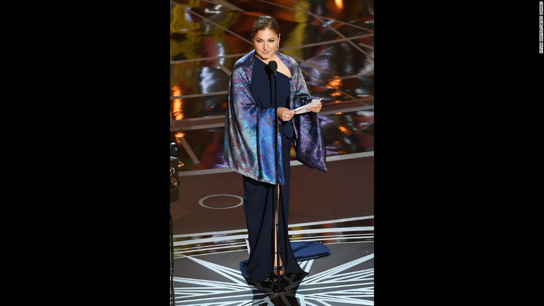 "On behalf of Iranian director Asghar Farhadi, Anousheh Ansari accepts the Oscar for best foreign language film (""The Salesman""). Farhadi boycotted the Oscars because of an executive order signed by US President Donald Trump. That order, which temporarily suspended the admission of refugees and barred entry to the United States from Iran and six other Muslim-majority countries, was blocked by a federal judge earlier this month."