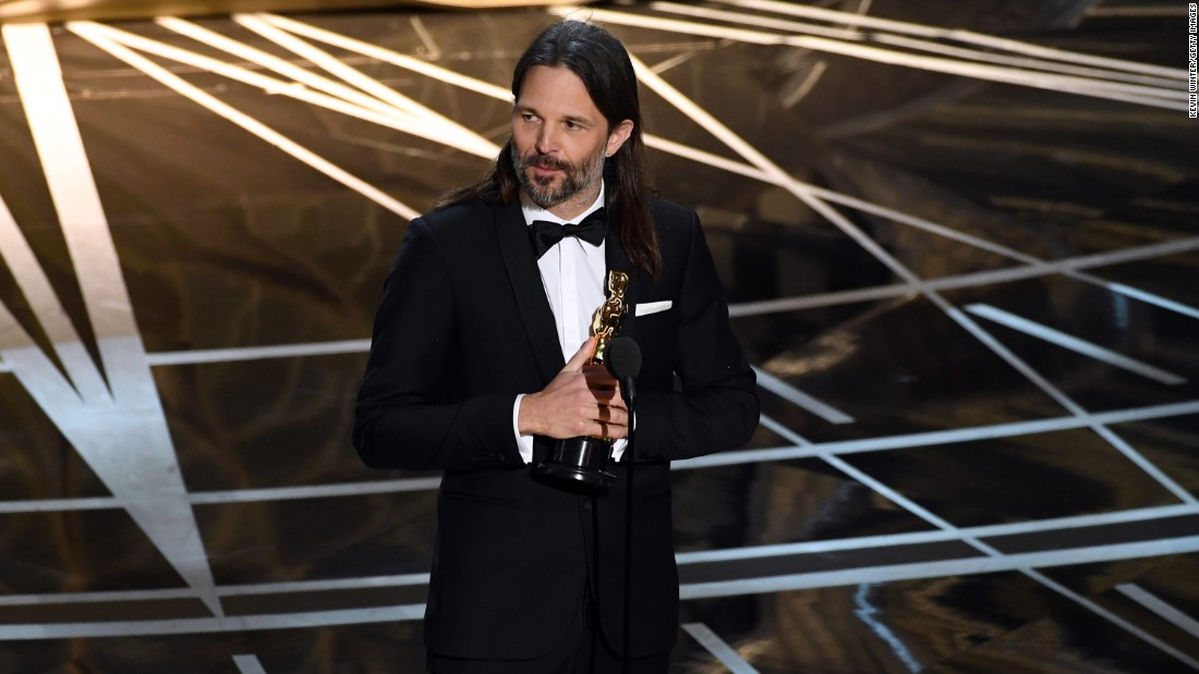 "Linus Sandgren accepts the best cinematography Oscar for his work on ""La La Land."""