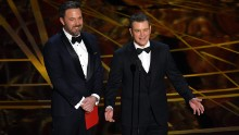 Ben Affleck, left, and Matt Damon present the Oscar for best original screenplay. That award went to Kenneth Lonergan for