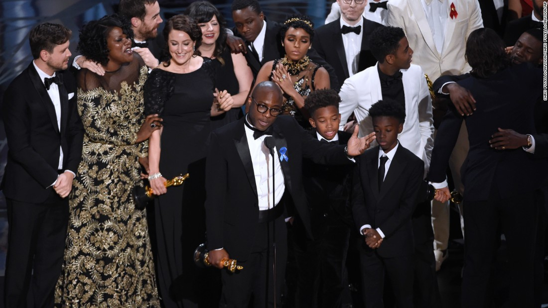"""Moonlight"" director Barry Jenkins accepts the best picture award."