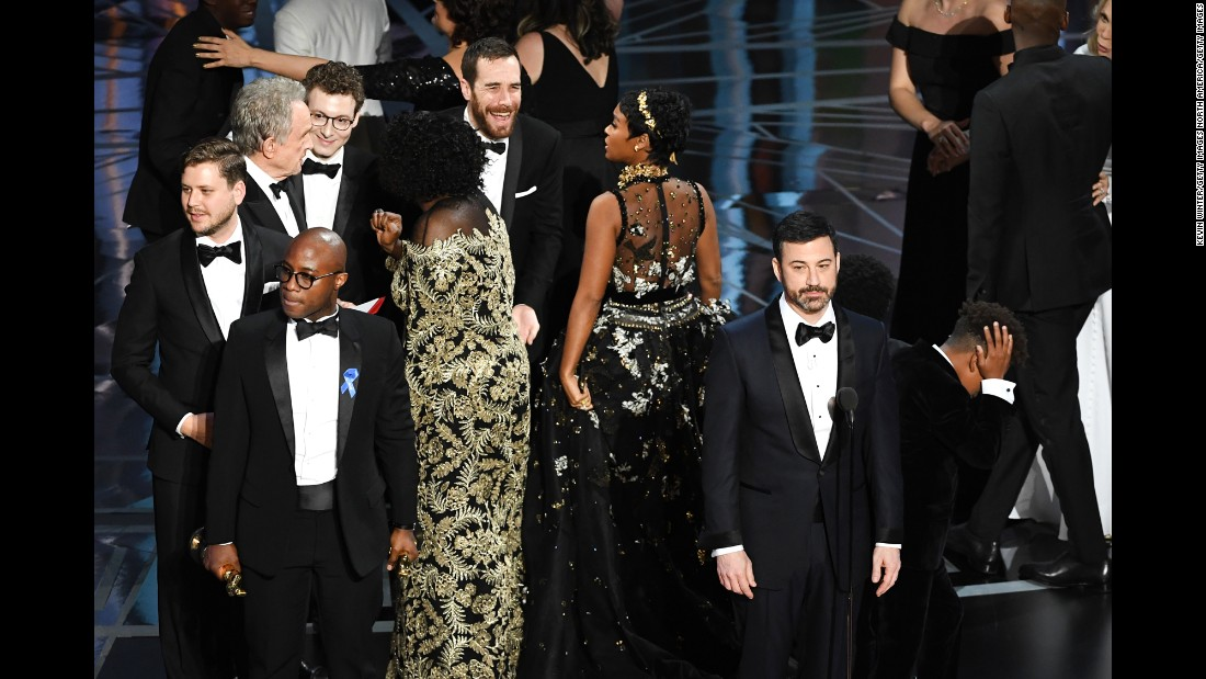 "Kimmel speaks as the cast and crew of ""Moonlight"" celebrate winning best picture."