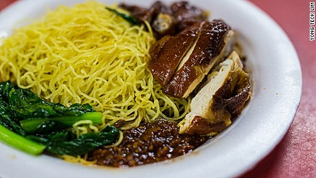 A photo of Chan Hong Meng's soya sauce chicken noodle at Chinatown Complex on July 24, 2016 in Singapore. Chan was awarded a one-star rating by Michelin on July 21, making him one of the first street food hawkers to be awarded in the guide's history.