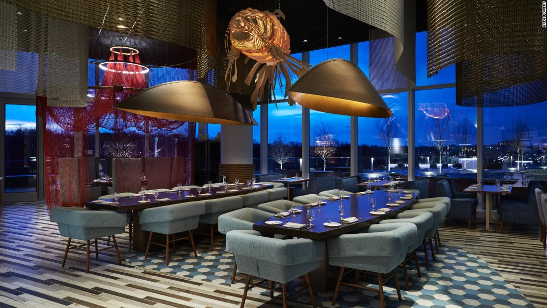 Aquatic accents set the stage at Fish By José Andrés, one of three chef-driven eateries at MGM National Harbor.