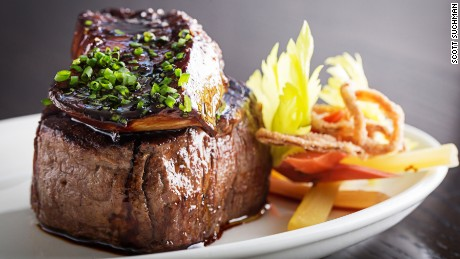 Filet mignon with foie gras is among the decadent offerings at Voltaggio Brothers Steak House.
