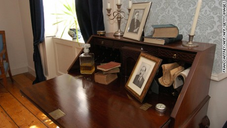 "The desk where James Joyce wrote ""Ulysses"" is on display at the James Joyce Centre in Dublin."