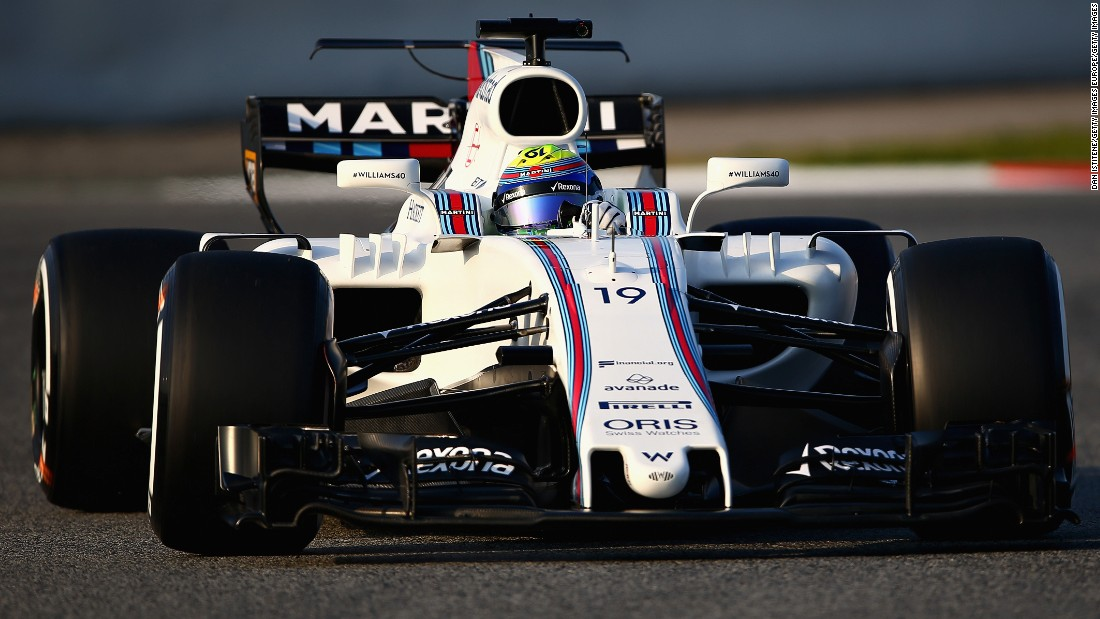 Felipe Massa, who came out of a brief retirement after Bottas joined Mercedes, drives Williams' new FW40 on day one of winter testing at the Circuit de Catalunya in Montmelo, Spain.