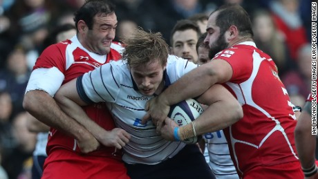 KILMARNOCK, SCOTLAND - NOVEMBER 26: Jonny Gray of Scotland drives forward during the Autumn Test Match between Scotland and Georgia at  Rugby Park on November 26, 2016 in Kilmarnock, Scotland. (Photo by Ian MacNicol/Getty Images)