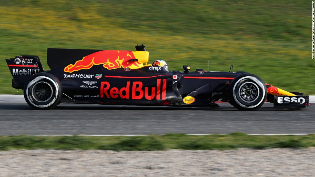 Red Bull is expected to be one of Mercedes' closest rivals this season. Here Daniel Ricciardo drives the new RB13 at winter testing.