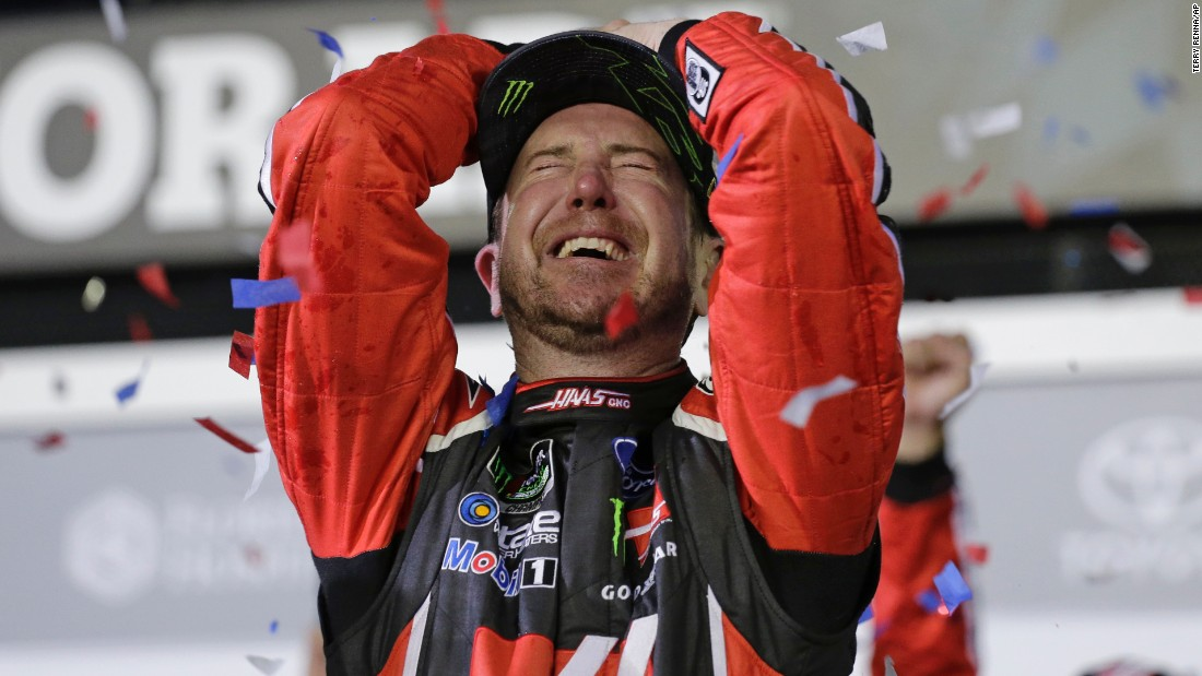 NASCAR driver Kurt Busch celebrates after winning the season-opening Daytona 500 on Sunday, February 26. It was the first Daytona 500 victory for Busch, a veteran driver who won the Cup Series title in 2004.