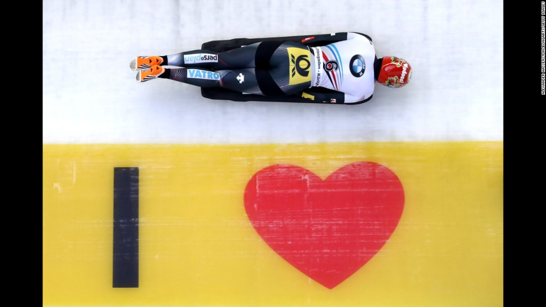 Jacqueline Lolling, a German skeleton racer, speeds down the track during the World Championships in Konigssee, Germany, on Saturday, February 25. The 22-year-old finished in first to become the sport's youngest-ever female world champion.