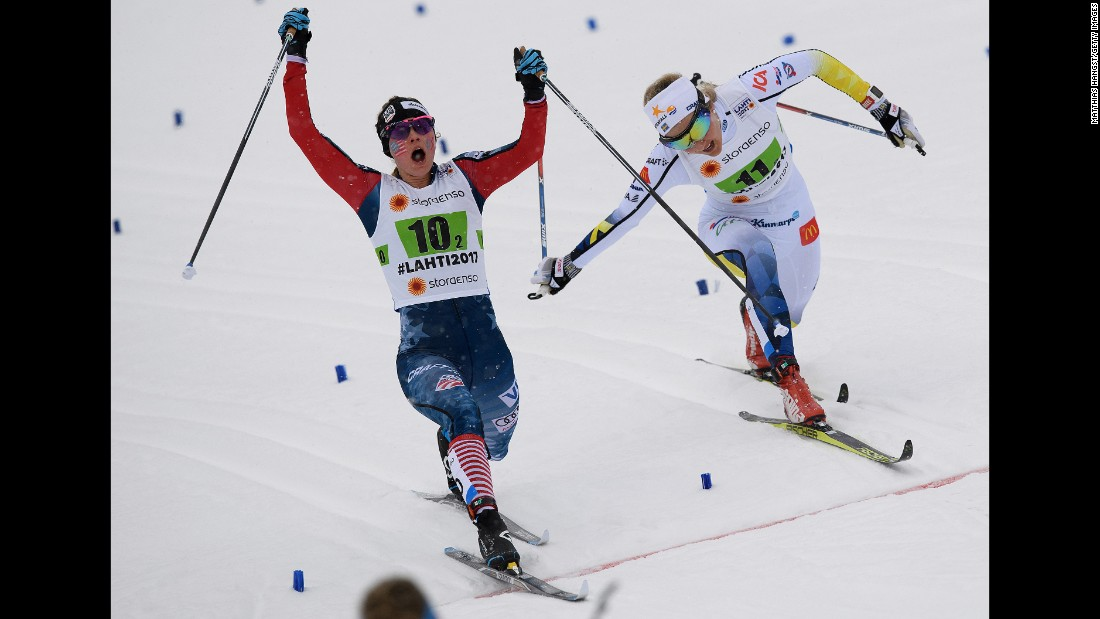 American cross-country skier Jessica Diggins edges Sweden's Stina Nilsson for third place during a team event at the World Championships on Sunday, February 26.