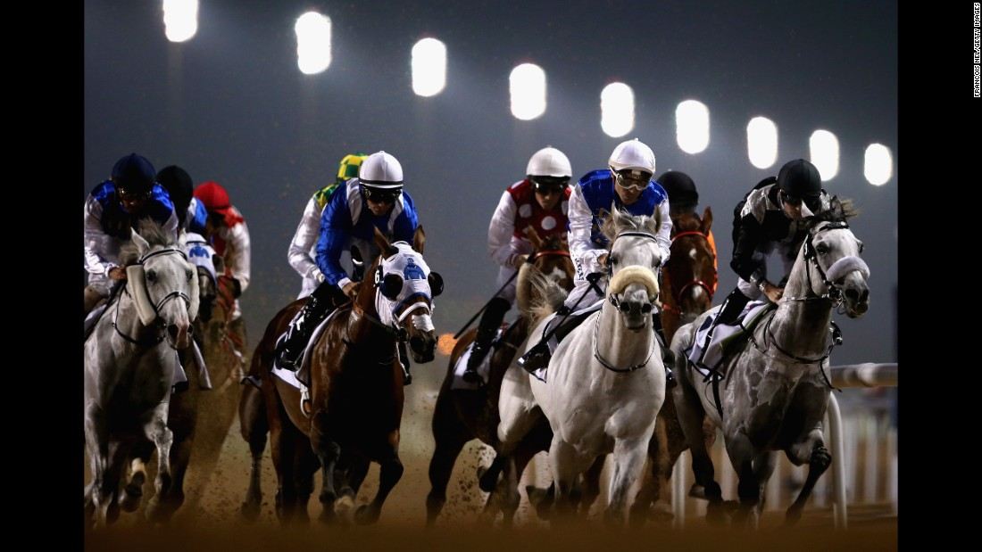 Horses race at the Meydan track in Dubai, United Arab Emirates, on Thursday, February 23.