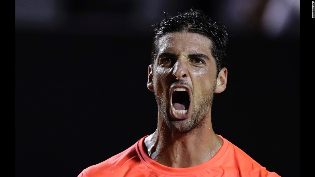 Thomaz Bellucci celebrates after he defeated top-seeded Kei Nishikori at the Rio Open in Brazil on Tuesday, February 21.